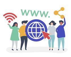Illustrazione di carattere della gente che tiene le icone di World Wide Web