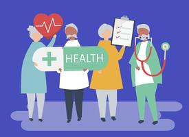 Illustrazione del carattere degli anziani che tengono le icone di salute