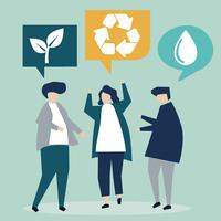 Pessoas com ideias de conservação ambiental