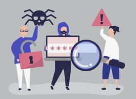 Illustration de personnage de personnes avec des icônes de cybercriminalité