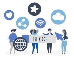 Karakterillustratie van mensen die blogging pictogrammen houden
