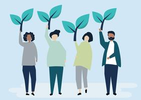 People holding tree icons to raise environmental awareness