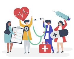 Group of medical staff carrying health related icons
