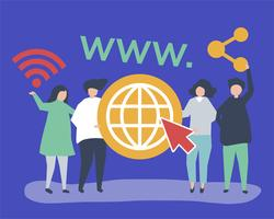 Character illustration of people holding world wide web icons