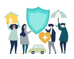 Pessoas carregando ícones relacionados ao seguro