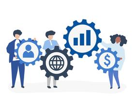 Character illustration of business people holding strategy icons