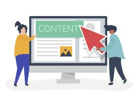 Mensen met het concept van de digitale inhoud creatie