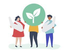 Pessoas com conceito de responsabilidade ambiental