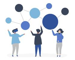 Character illustration of people with networking icon