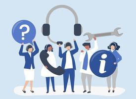 Pessoal de apoio ao cliente carregando ícones de comunicação
