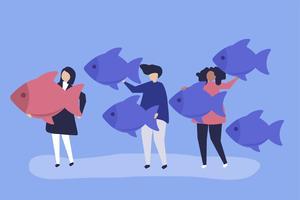 Pessoas carregando ícones de peixe no conceito de liderança