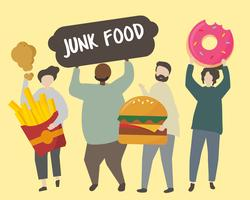 People with fatty junk food illustration