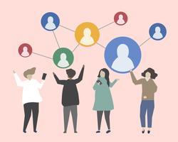 Mensen verbinden met elkaar illustratie
