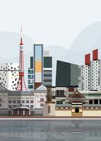 Illustration of Japanese landmarks