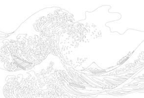 The Great Wave of Kanagawa (1829–1833) by Katsushika Hokusai: adult coloring page