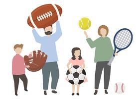 Leute halten eine Vielzahl von Sportgeräten