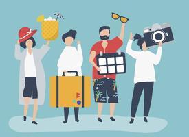 Touristen, die an einem tropischen Feiertag gehen