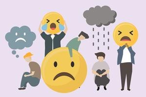People with sad and angry emojis illustration