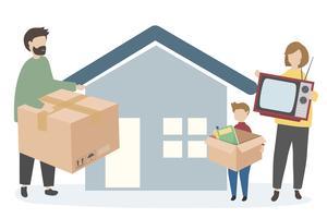 Familjen flyttar till ett nytt hem