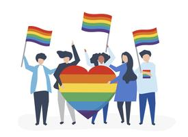 Character illustration of people holding LGBT support icons