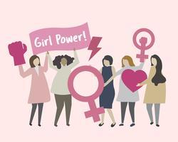 Frauen mit Feminismus- und Mädchenpowerillustration