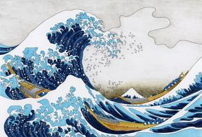 Den stora viken av Kanagawa (1829-1833) av Katsushika Hokusai: vuxenfärgningssida