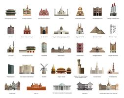 Collection d'illustrations de sites touristiques célèbres