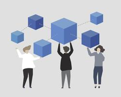 People with blue building blocks illustration