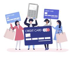 People shopping with a credit card