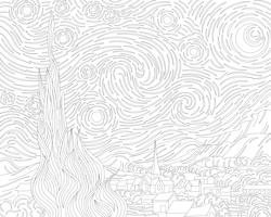 The Starry Night (1889) door Vincent van Gogh: adult coloring page