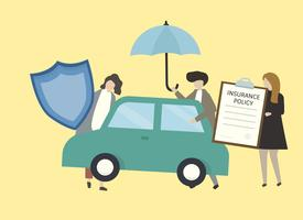 Illustration of people with car insurance illustration