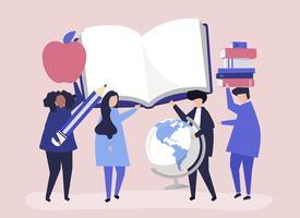 Pessoas com ícones relacionados à educação
