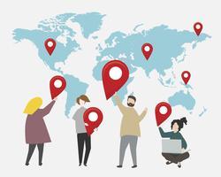 Pontos de verificação na ilustração do mapa do mundo