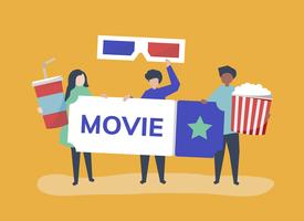 Character illustration of people with movies icon