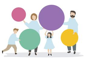 Family holding colorful circles illustration