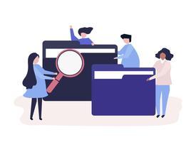 Personagens de pessoas pesquisando arquivos