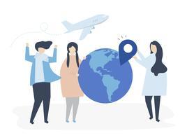 Personas que llevan diferentes iconos relacionados con los viajes.