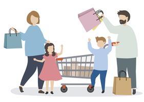 Familj som handlar med en kundvagn