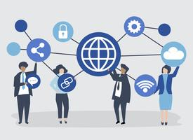 Character illustration of business people with connection icons