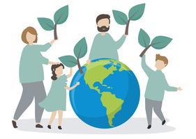 Família cuidando do meio ambiente