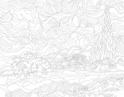 Wheat Field with Cypresses (1889-1890) by Vincent van Gogh : adult coloring page