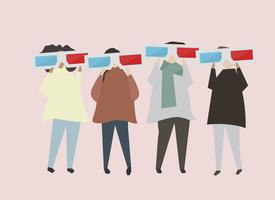 People with 3D cinema glasses illustration