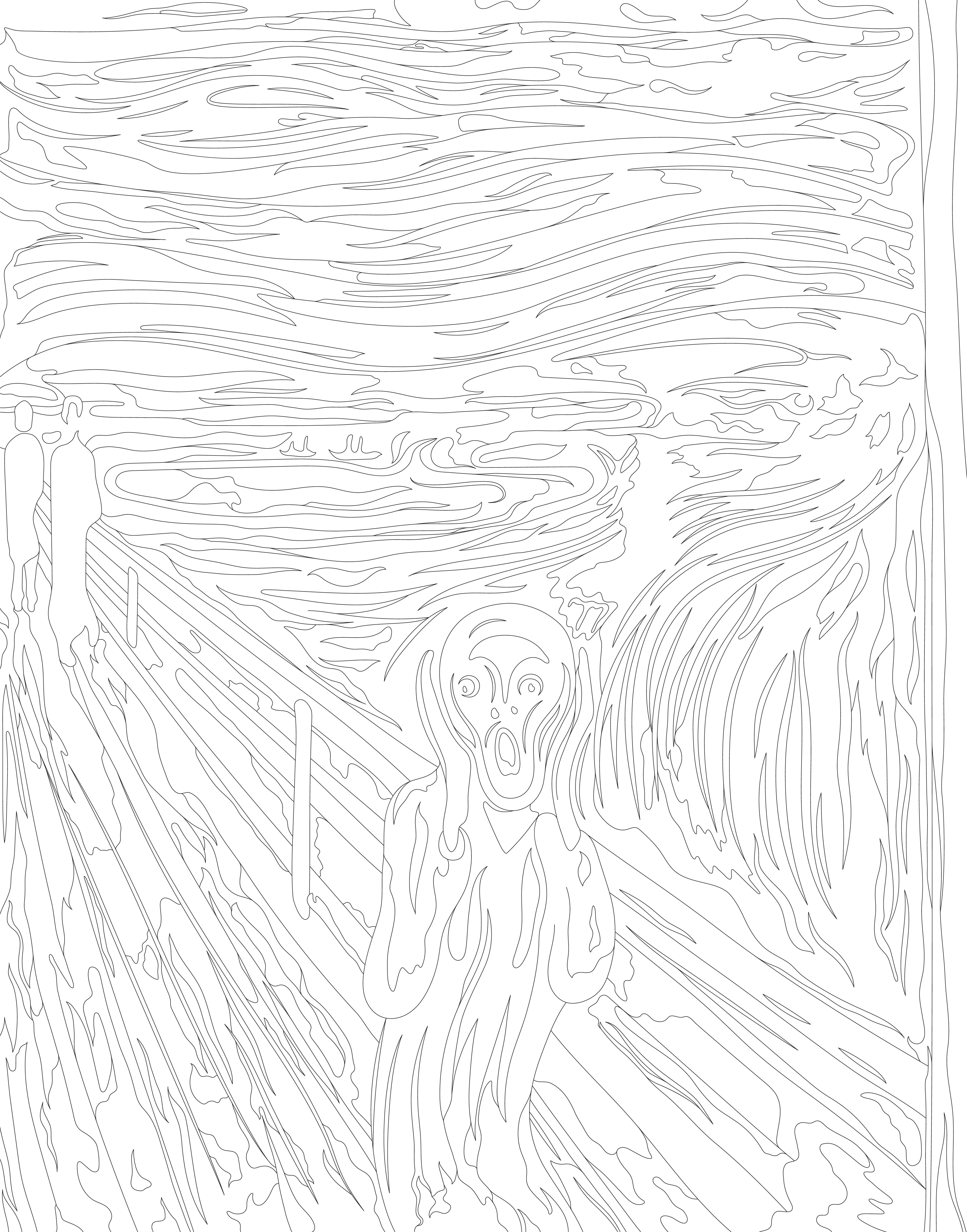 Desenho De O Grito 1893 Por Edvard Munch Para Colorir Download