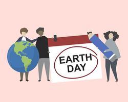 People celebrating Earth day illustration