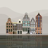 Illustration of traditional European canal houses in Amsterdam