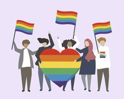 People with LGBTQ rainbow flags illustration