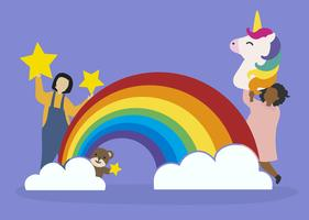 Kids with imagination and fantasy vector