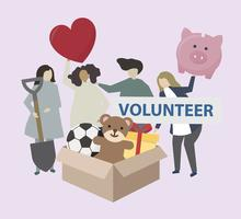 Volunteers with charity icons illustration