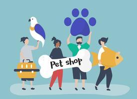 Personas que van a una tienda de mascotas.