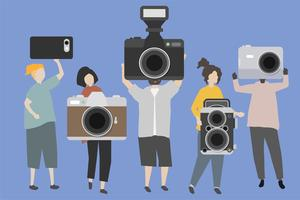 A group of people displaying various kinds of cameras illustration